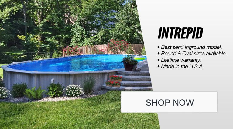 Above ground pools semi inground pools swimming pool supplies covers chemicals for Oval above ground swimming pool sizes